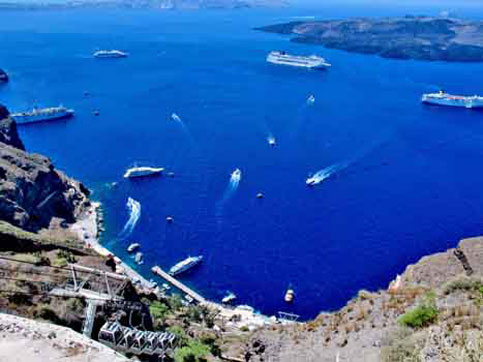 Busy harbor at Santorini, Greek Isles